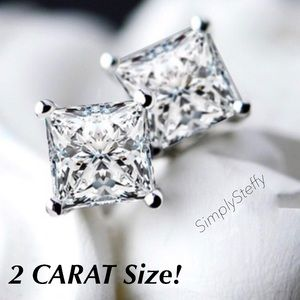 Jewelry - 💖ARRIVED💖 2 Carat SS Princess Cut Earrings